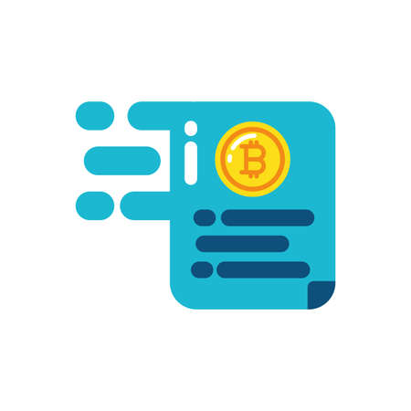 Bitcoin document design of Cryptocurrency money currency exchange financial bank web internet market electronic finance and net theme Vector illustration