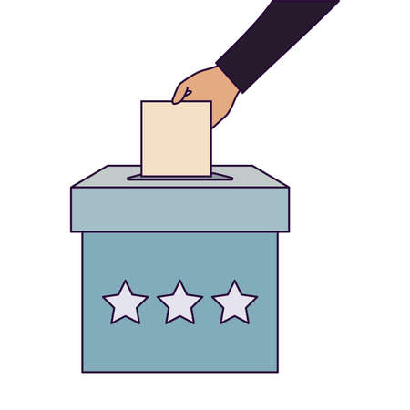 Vote box and hand holding paper design, President election government campaign voting politician independence political and united theme Vector illustration