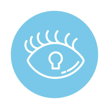 padlocked eye, block and flat style icon vector illustration design Vektorgrafik
