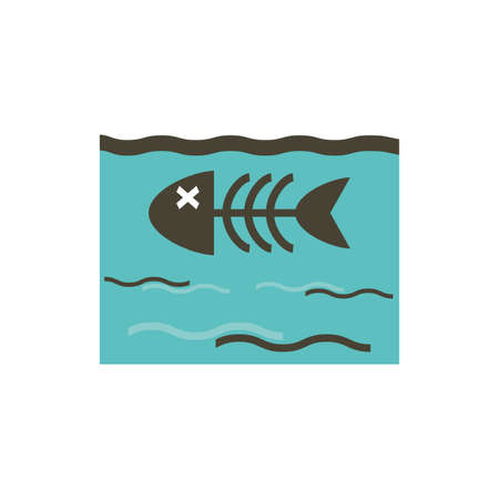 Dead fish inside sea design, Pollution factory environment dirty danger industry plant chemical and toxic theme Vector illustration