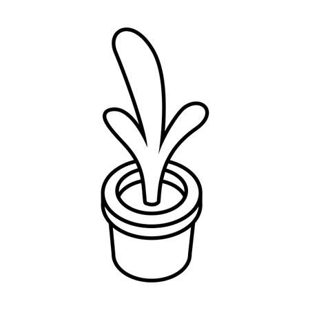 houseplant with potted in white background vector illustration design