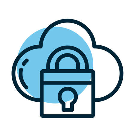 padlock with cloud, line style icon vector illustration design