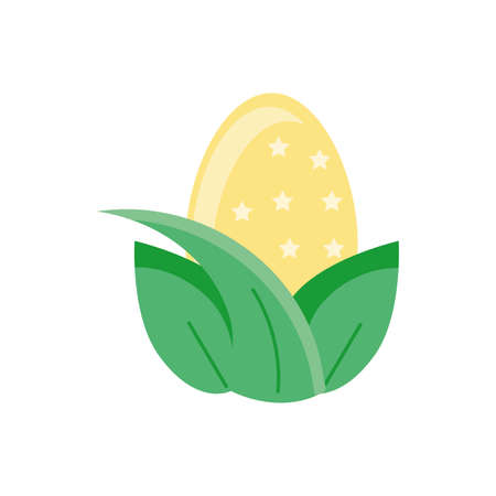 leaves with yellow easter egg over white background, flat style icon, vector illustration