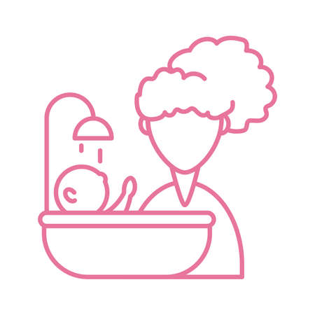 woman with baby taking the bath, line style icon vector illustration design 矢量图像
