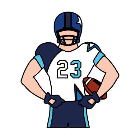man team player american football with uniform on white background vector illustration design Illustration