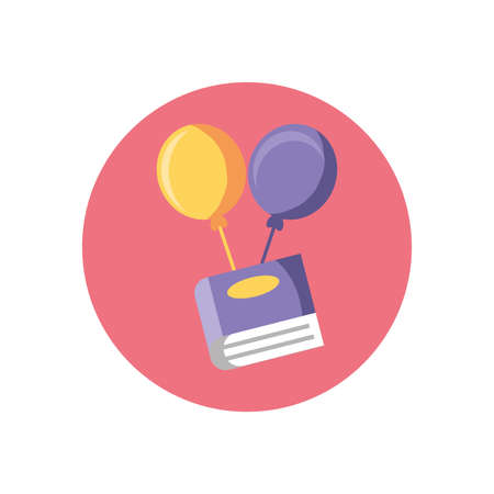 book with balloons icon over white background, colorful block style, vector illustration
