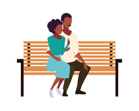 couple of people in love sitting in the park chair on white background vector illustration design
