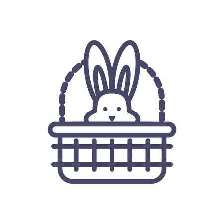 basket with cute rabbit head over white background, line style icon, vector illustration