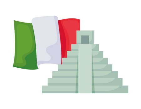 mexico flag with pyramid isolated icon vector illustration design