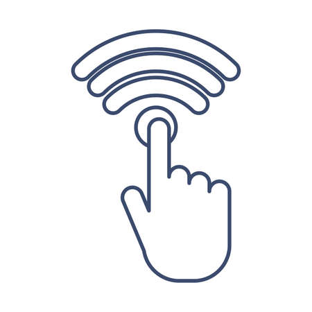 hand with wifi symbol , line style icon vector illustration design