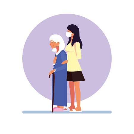 young woman takes care of old woman vector illustration design Illustration