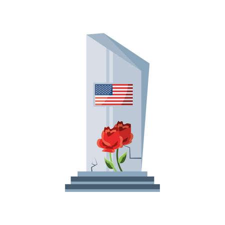 commemorative tombstone with USA flag on white background vector illustration design Ilustração