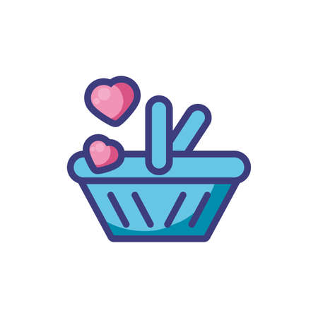 Shopping basket and hearts design of love passion romantic valentines day wedding decoration and marriage theme Vector illustration