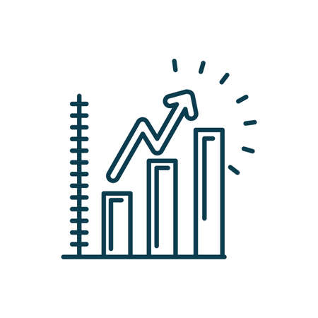 graphic bar chart icon over white background, line style, vector illustration