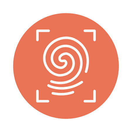 framing fingerprint, block and flat style icon vector illustration design
