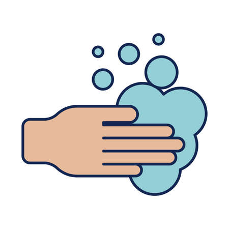 washing hands with water and soap, line and fill style icon vector illustration design Vectores