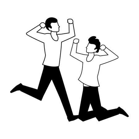 men in pose of dancing on white background vector illustration design