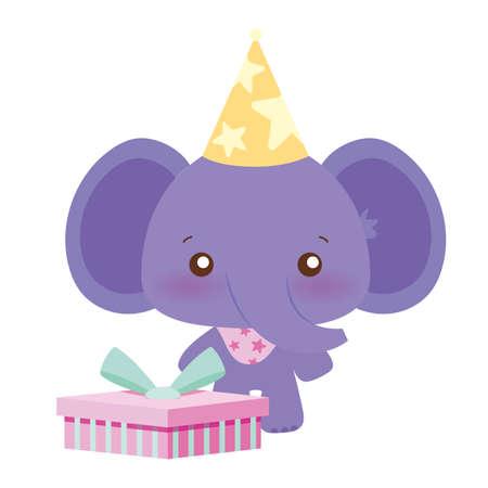 elephant cartoon design, Happy birthday card celebration decoration surprise party anniversary and invitation theme Vector illustration