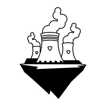 nuclear reactor over terrain over white background vector illustration design