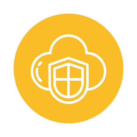 shield with cloud, block and flat style icon vector illustration design