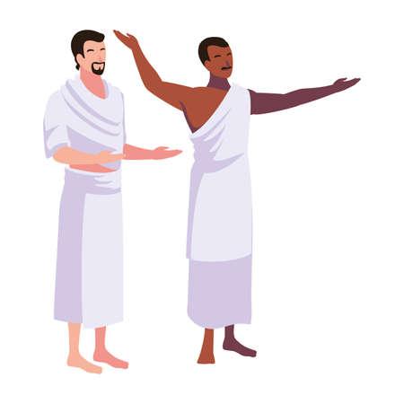 men pilgrim hajj standing on white background vector illustration design