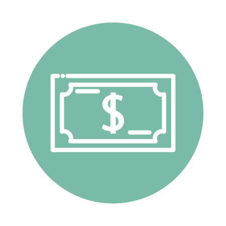 nice dollar block and flat style icon vector illustration design Ilustração