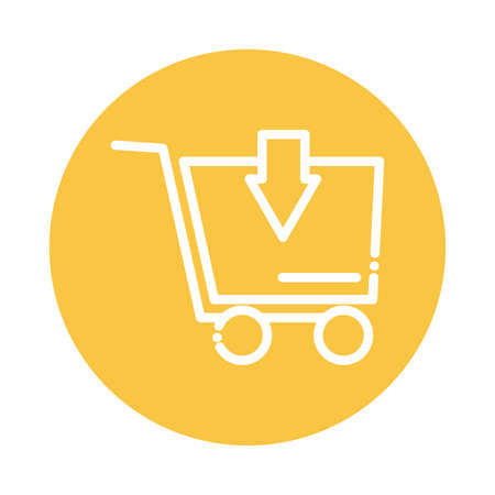 shopping cart with arrow block and flat style icon vector illustration design Vector Illustratie
