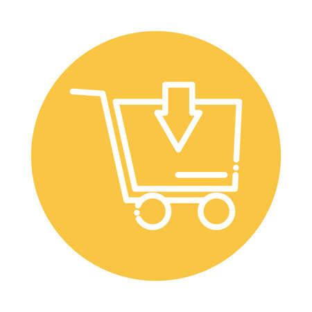 shopping cart with arrow block and flat style icon vector illustration design Ilustração Vetorial