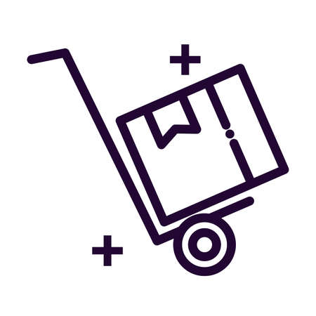 trolley of boxes line style icon vector illustration design