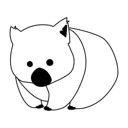 cute Australian wombat on white background vector illustration design
