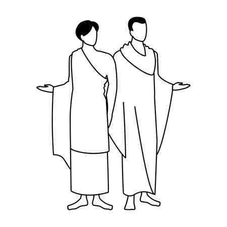 men pilgrim hajj on white background vector illustration design Illustration