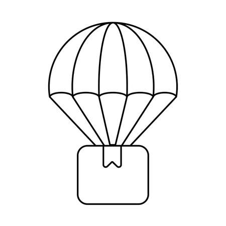 cardboard box with parachute , line style icon vector illustration design