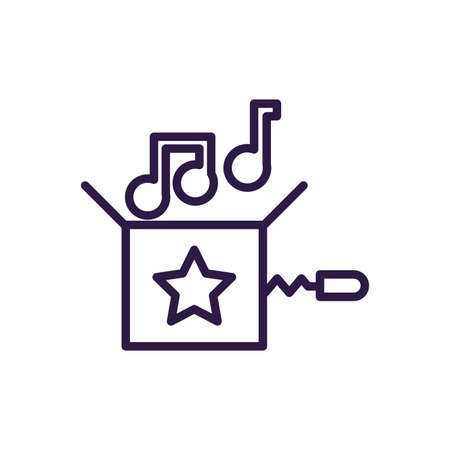 joke box with musical notes over white background, line style icon, vector illustration Illustration