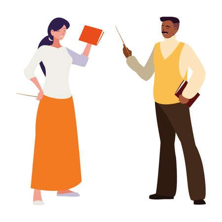 interracial teachers couple avatars characters vector illustration design