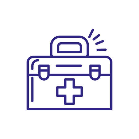 first aid kit icon over white background, line detail style, vector illustration
