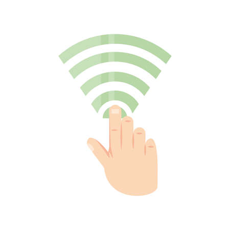 hand with wifi symbol on white background vector illustration design
