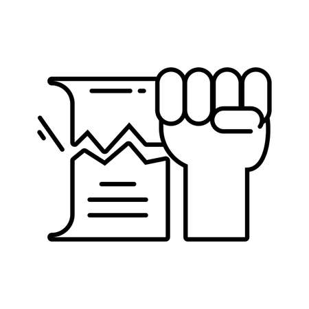 clenched fist held in protest on white background vector illustration design Illusztráció