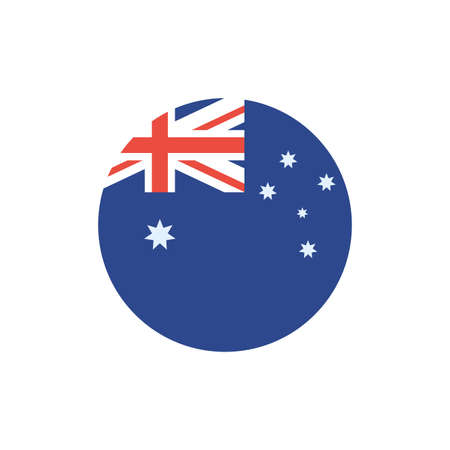 Australian flag button design, Travel tourism landmark destination nature vacation south western and holiday theme Vector illustration