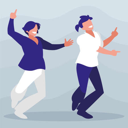 young dancers couple disco style characters vector illustration design