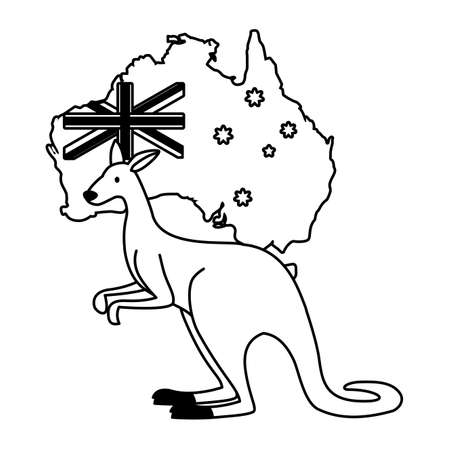 kangaroo with map of australia in the background vector illustration design