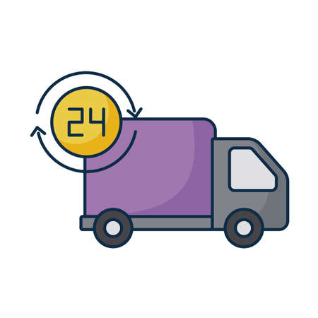 cargo transport truck with symbol of service 24 hours on white background vector illustration design