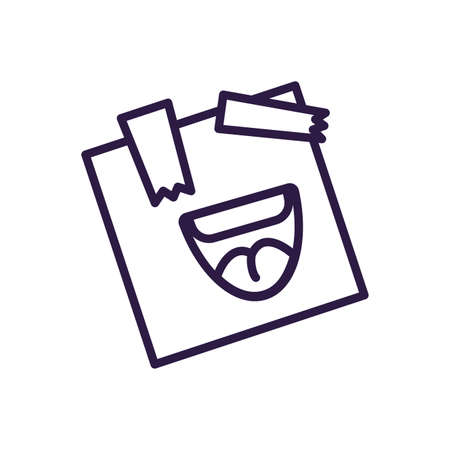 post note with cartoon mouth laughing over white background, line style icon, vector illustration