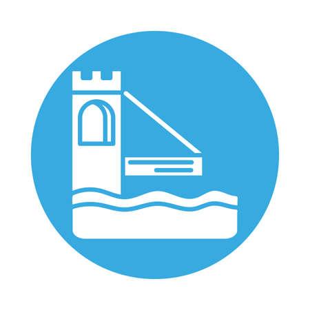 castle bridge , silhouette style icon vector illustration design Vecteurs