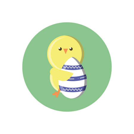 cute chicken with easter egg over white background, block style, vector illustration Ilustrace