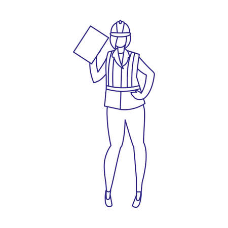 Builder avatar woman with helmet design of Construction working maintenance worker job workshop repairing and progress theme Vector illustration