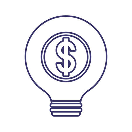 Dollar light bulb of money financial item banking commerce market payment buy currency accounting and invest theme Vector illustration