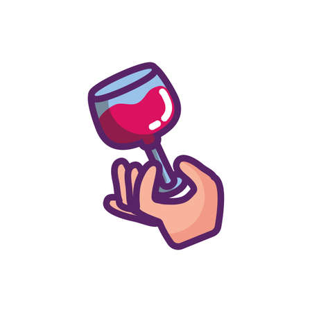 Hand with wine cup design of Winery alcohol drink beverage restaurant celebration and party theme Vector illustration