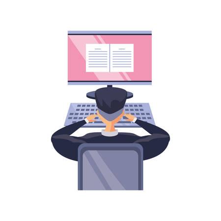 man in front a the desktop computer, online education vector illustration design Banque d'images - 144514046