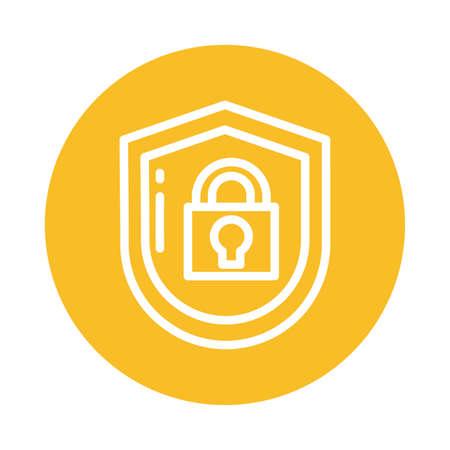 padlocked shield, block and flat style icon vector illustration design