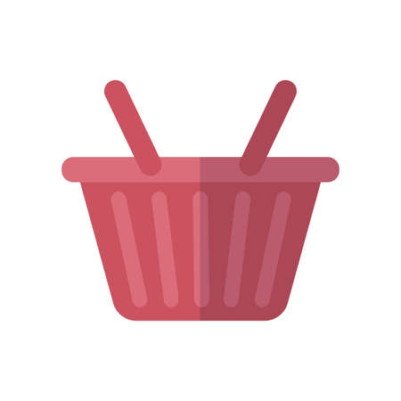 shopping basket icon over white background, flat style, vector illustration